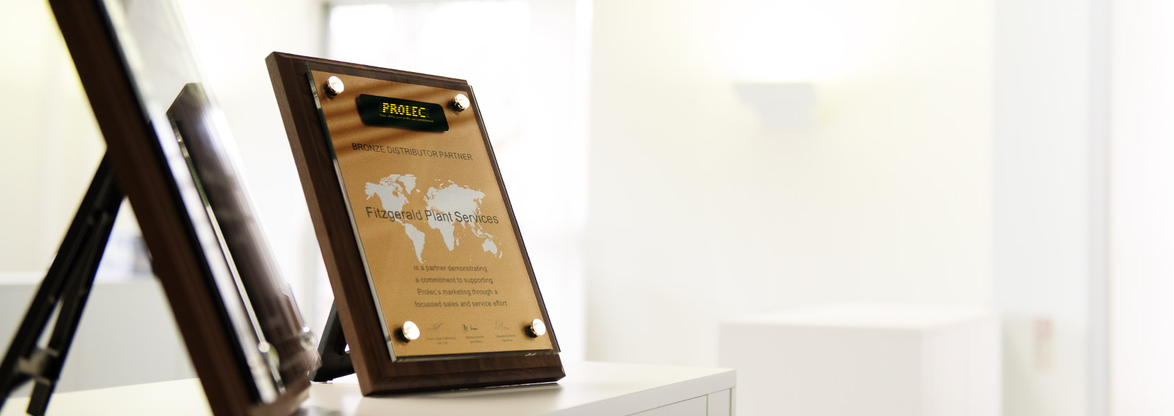 American Walnut Plaque with black acrylic and brushed gold