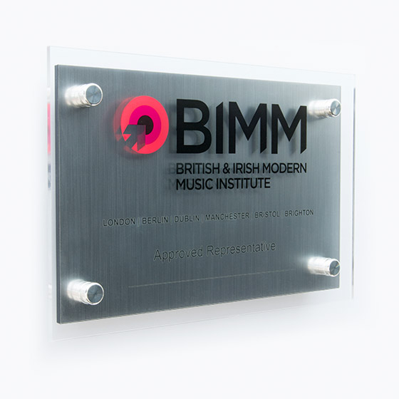 Corporate award - A4 Twin Layer Acrylic Wall Mounted Plaques - Glass Effect - black acrylic with brushed silver laminate - landscape
