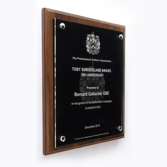 Corporate award - A4 Quality Wooden Plaques made from Solid North American Walnut - Glass effect acrylics - Black with Etched logo